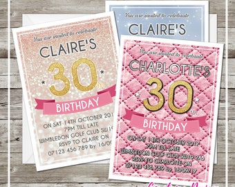 50x Invitations Personalised & Printed. Birthday Party Invitations for Any Age like 40th 50th 60th 30th 21st with White Envelopes
