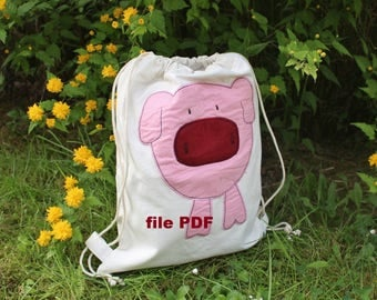 DIY Sewing pattern PDF in French Sewing for child Fabric bag pattern Sewing kit tutorial Cloth bag pattern Drawstring bag Draw string diy