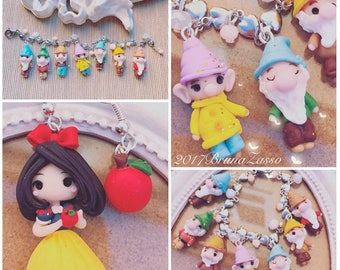 "Bracelet and earrings ""snow white and the seven dwarfs Disney Princess Cute Chibi Bijoux Fimo Polymer Clay Kawaii Tiny disney character"