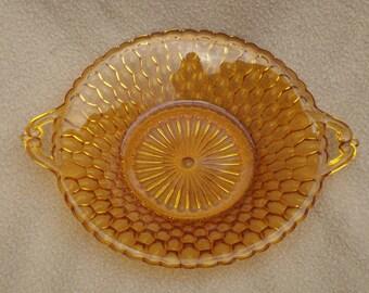 Vintage Amber Glass Serving Dish; Vintage Glass Bowl