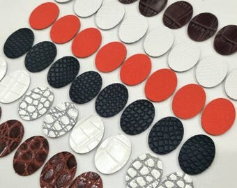 Embossed Leather Ovals, 50 pcs. (25 Pairs),30mm.x22mm., Mixed Colors, Leather Ovals Die Cut, Ovals Shape, Ovals Cut Outs, Ovals Style.