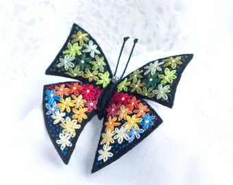Hand embroidery, Butterfly brooch, Embroidery art, Flower embroidery, Felt brooch, Colorful butterfly pin, Fabric butterfly, Textile jewelry