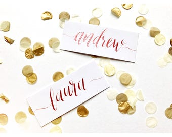 White name cards, calligraphy, copper, gold, rose, wedding, table decor