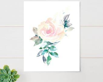 Watercolor flower print, pink rose, floral print, large art print, Floral Print, botanical art, floral wall art, framed art, painted rose