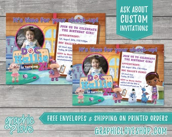 Personalized Doc McStuffins Birthday Invitation | 4x6 or 5x7, Digital File or Printed, FREE US Shipping