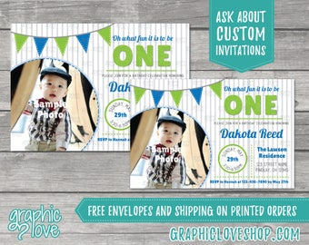 Oh What Fun to be ONE Personalized Birthday Invitation, Add Your Photo | 4x6 or 5x7, Digital or Printed