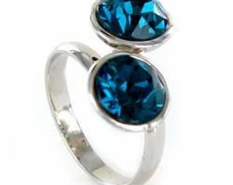 one 50 style silver plated adjustable Blue Crystal ring