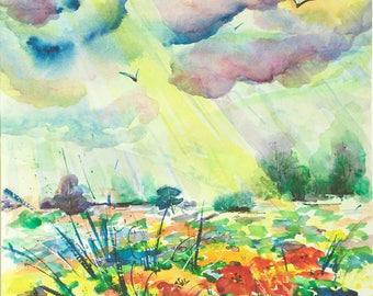 After Rain Meadow painting original watercolor painting Watercolor landscape painting Dramatic sky painting 11 x 14 Original art