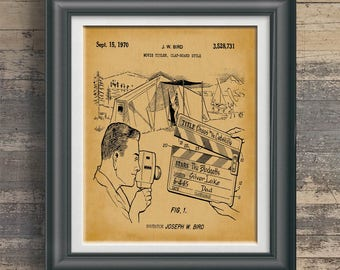 Home Movie Artwork Movie Title Clap Board Patent Art Home Movie Wall Art Home Theater Decor Gift for Amateur Movie Director Artwork PP 9099