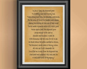 Christian poem etsy christian wall art dogwood poem poster christian gift for easter gift for first communion gift for negle Images