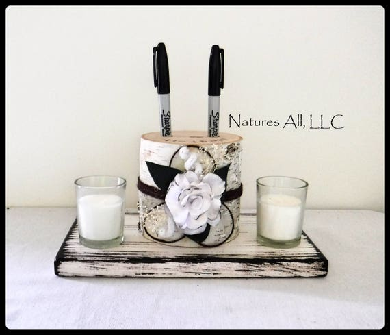Pen Holder AND Rustic Wood Base/Guest Book Pen Holder-White Birch With Satin Flower And Distressed White Base/Log Pen Holder/Rustic Decor