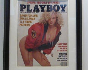 Vintage Playboy Magazine Cover Matted Framed : August 1990 - Erika Eleniak
