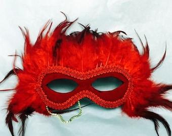 Full feather masquerade mask #MA17004