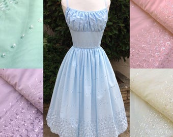 Pastel Broderie Anglaise Vintage inspired gathered bust dress - Pink Lilac Blue Cream Mint