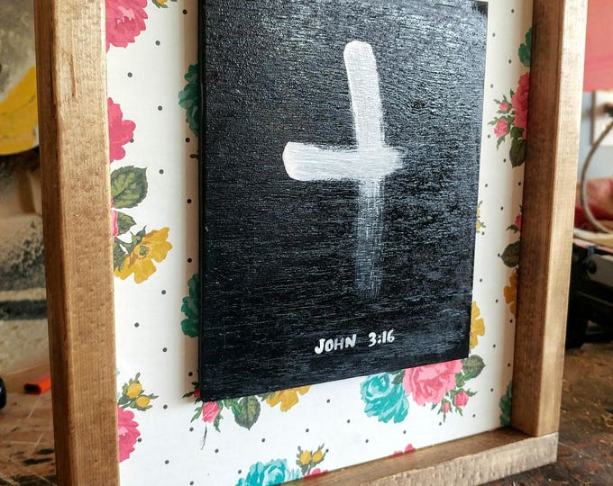 John 3:16 Cross Wooden Sign