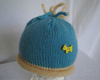 toddler knit beanie, aquamarine baby cap, blue and yellow hat, roll-brim beanie, scotty dog hat, baby top-knot beanie, merino wool knit cap