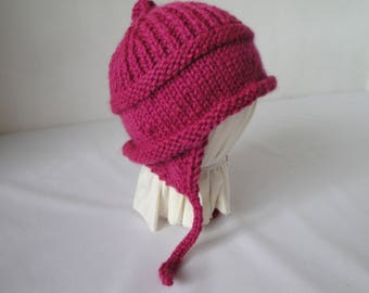 childs ear-flap hat, cerise pink cap, little girls hat, cap with chin-ties, winter warmer, childs holiday gift, fuchsia pixie hat, knit cap