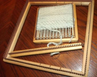 """Two Vintage Antique Hand Looms 4"""" and 8"""" with Insert Divide for 8 Inch Loom"""