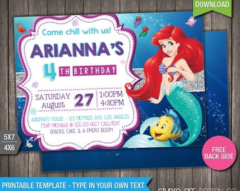 Little Mermaid Invitation - 50% OFF - INSTANT DOWNLOAD - Printable Little Mermaid Birthday Invite - DiY Personalize & Print - (LMin03)