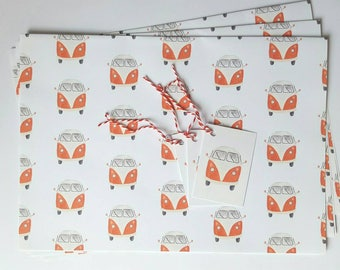 Red Volkswagen Camper Van Wrapping Paper & Gift Tags - A3 Sheets - Ideal for Small Gifts