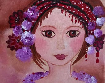 In the eyes of Mina naive romantic-acrylic on canvas 20 x 20