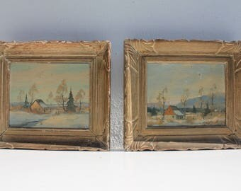 A Pair of Vintage  Rural Landscape  Painting Signed  By Listed  Artist - Arlis  .