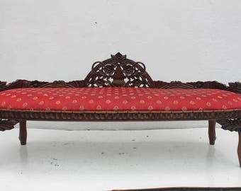 French  Country  Carved Wood Frame Bench.