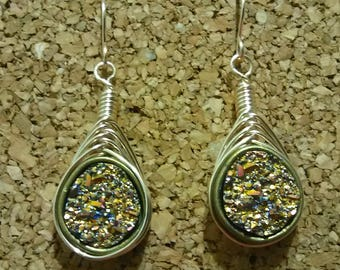 Hand crafted herringbone wire wrapped druzy style earrings hand crafted by BNMusings