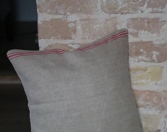 pillow case from antique linen: red white stripes / 40*40cm