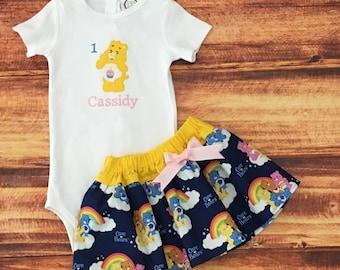 Care Bears, Care Bears First Birthday Outfit, Care Bears Birthday, Birthday Bear, Care Bears Dress, Care Bears 1st Birthday, Handmade