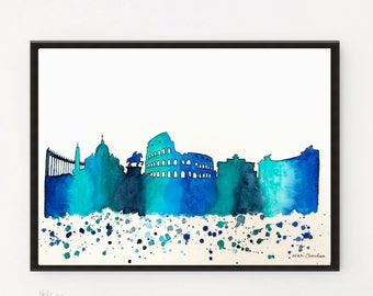 Rome Skyline, Italy art, City art, Cityscape, Watercolor Painting, Illustration, Italy Print, Travel art, Modern Wall art, Holiday Gift