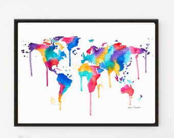 World Map art, Map print, World Map Print, Map poster, Watercolor Painting, Printable art, Illustration, Art Print, World map poster, Maps
