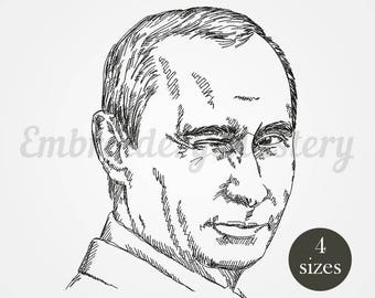Putin smiling machine embroidery design. Russia. President. 4 sizes - instant download