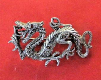 Sensational Vintage Marcasite Dragon Brooch