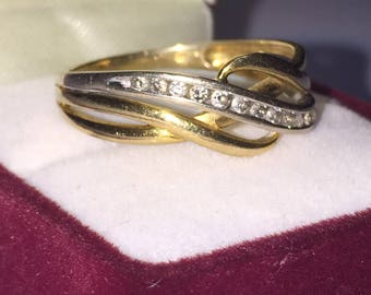Two Tone Gold & Diamond Intertwined Band