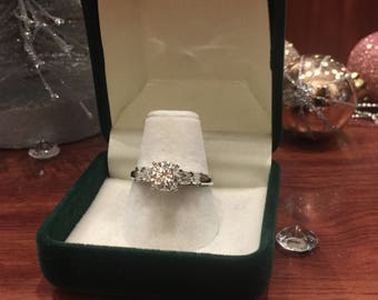 1.05ct Solitaire with Accents Diamond Engagement Ring in 18K White Gold. J/VS.