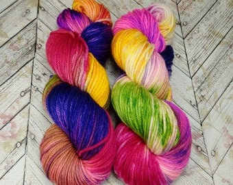 "Worsted Superwash Merino , Hand Dyed Yarn 200 yd, ""Glorious Chaos"""