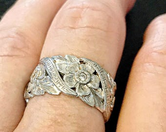 SALE! 1920 antique 14k and diamond very intricate flowers orange blossom wide eternity wedding band engagement ring art deco one of a kind