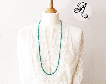 Turquoise color Howlith necklace with 925 silver beads, festival necklace, beach necklace, endless necklace