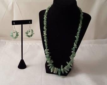 Green Stone Jewelry Set - Green Jewelry Set - Stone Jewelry Set - Green Necklace - Green Earrings - Stone Necklace - Stone Earrings - Green