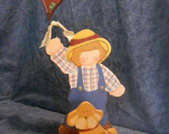 Boy & Kite Wood Figurine