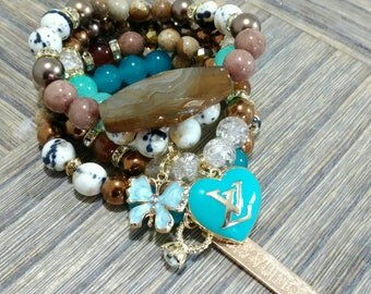 Designer Inspired Agate beaded & Turquoise Charm Bracelet Set, anniversary gift, birthday gift, gifts for her, Valentine's gifts