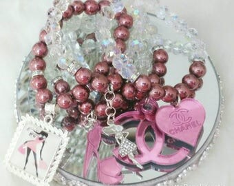 Designer Inspired Pink Hematite & Crystal ladies charm bracelet set, anniversary gifts, birthday gifts, gifts for her, stocking stuffers.