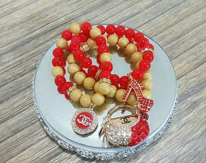 Designer Inspired Red and Gold Heels/Purse Bracelet Charm Set