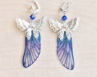 Fairy earrings blue butterfly with Swarovski Crystal
