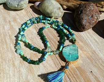 Long necklace with 24k goldfilled Russian amazonite and green agate.