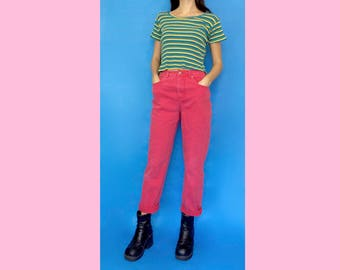 Vintage 90s Y2k 2000s Hot Pink Denim High Waisted Stretchy Skinny Jeans Size 4