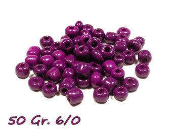 50gr of large 6/0 seed beads 4 mm purple