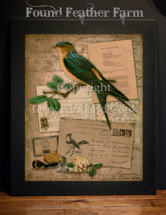 "The Barn Swallow ~ Original Vintage Art Collage 20"" x 24""Framed Giclee Print"