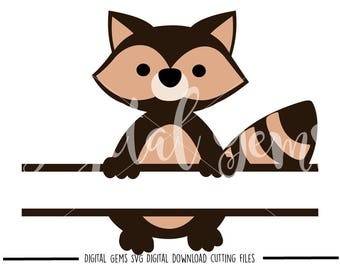 Split Raccoon, Split Animal svg / dxf / eps / png files. Digital download. Compatible with Cricut and Silhouette machines. Commercial use ok